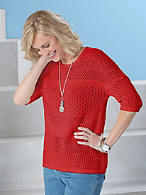 Mixed Pointelle Pullover by Sag Harbor®