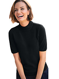 Spindrift Zip-Back Short-Sleeve Mockneck Sweaters
