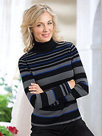 Ribbed Striped Cotton Turtleneck