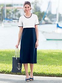 Colorblock Cotton Knit Dress