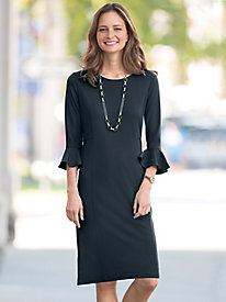 Flounce-Sleeve Ponte Dress