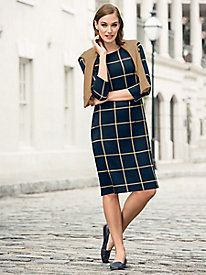 Windowpane Knit Dress