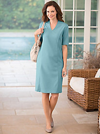 Split-Neck Ponte Dress