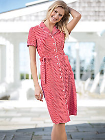 Silky Tile-Print Shirtdress