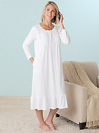 Embroidered Long-Sleeve Nightgown