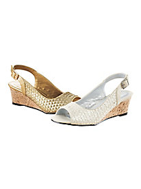 Metallic Peep-Toe Sling