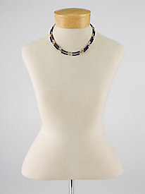 Navy/Gold Double-Strand Necklace