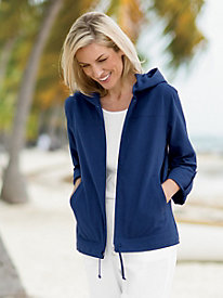 Captiva Zip-Front Roll-Sleeve Jacket