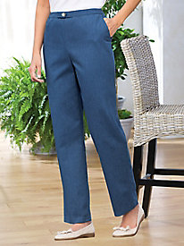 Brushed Denim Flat-Front Pant