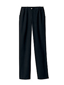 Brushed Denim Flat-Front Pants