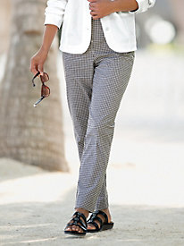 Gingham Check Flat-Front Ankle Pant