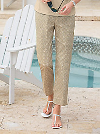 Tile-Print Ankle Pants