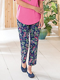 Sateen Floral-Print Ankle Pants