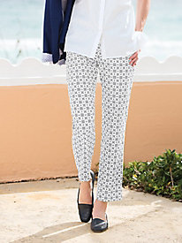 Chain-Print Ankle Pants