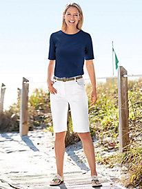 Ladies' Knee-Length & Elastic Waist Bermuda Shorts | Appleseeds