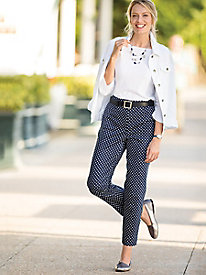 Dot-Print Ankle Pants