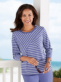 Lake Meade Mixed-Stripe Tee by Alfred Dunner®