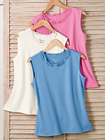 Sleeveless Lace-Trim Shell