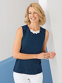 Sleeveless Dot Print Tee
