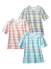 Mosaic Stripe Print Tee by Koret�
