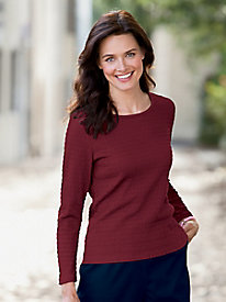 Long Sleeve Crinkle Knit Tee