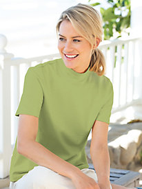 Short-Sleeve Cotton Mockneck