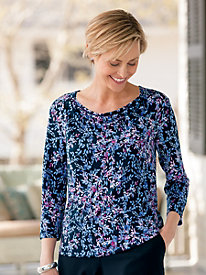 Printed Drape-Neck Top