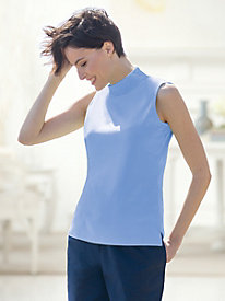 Sleeveless Cotton Mockneck