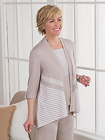 Acadia Spliced Stripes Cardigan by Alfred Dunner�