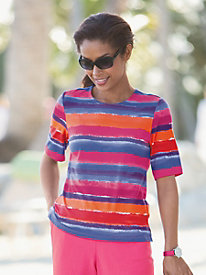 Ocean Stripe Elbow-Sleeve Tee
