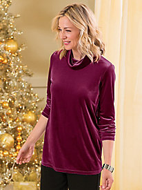 Stretch Velvet Cowlneck Tunic