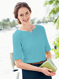 Roll-Sleeve Notched-Neck Tee