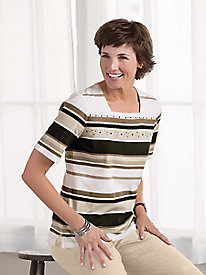 Embellished Neutral Stripe Tee by Koret �