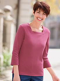 3/4-Sleeve Square-Neck Tee