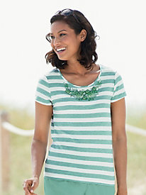 Embellished Striped Tee by Ruby Rd.