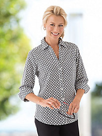 Foxcroft No-Iron Cotton Print Shirt
