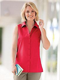 Foxcroft� Sleeveless Broadcloth Shirt