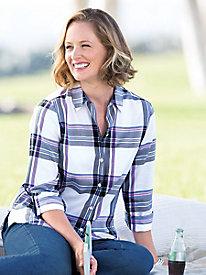 Foxcroft� No-Iron Plaid Shirt