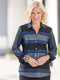 Foxcroft� Textured-Stripe Shirt