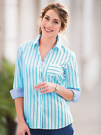 Foxcroft� Striped No-Iron Cotton Shirt