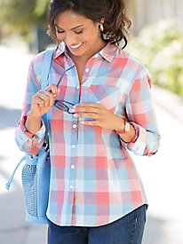 Coral Plaid Shirt
