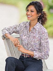 Feather Swirl Perfect Shirt by Foxcroft�