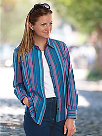 Plum Stripe Perfect Shirt by Foxcroft�