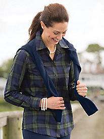 Foxcroft for Appleseed's Perfect-Fit Black Watch Plaid Shirt