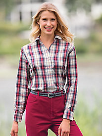Classic Ivory Plaid Shirt by Foxcroft