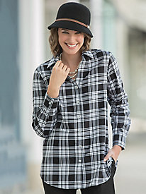 Foxcroft for Appleseed's Black/White Plaid Tunic