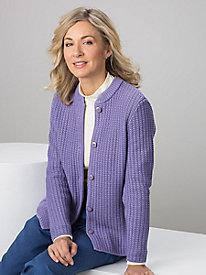 Textured Stand-Collar Cardigan