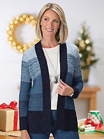 Gradient Blues Open Cardigan