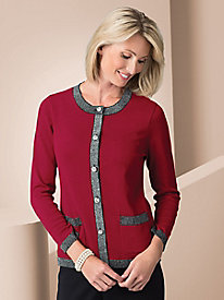 Holiday Cardigan with Lurex Trim