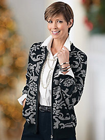 Scroll Jacquard Cardigan